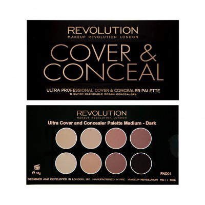 REVOLUTION PALETTE COVER&CONCEALER MEDIUM-DARK